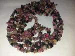 Турмалин ожерелье из трех ниток Скрученные бусы 48 см
