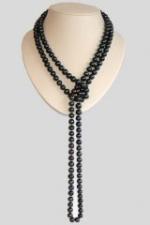 Длинные бусы из черного жемчуга - 160 см